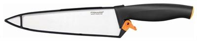 Нож кухонный Fiskars 1014197 стальной универсальный лезв.200мм прямая заточка черный - фото 8556