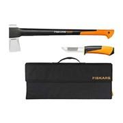 Набор: Топор-колун Fiskars 1025579 Х25 + нож для тяжелых работ в сумке